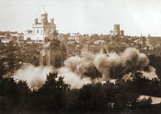Взрыв Троицкой церкви. Фото 1969 г.
