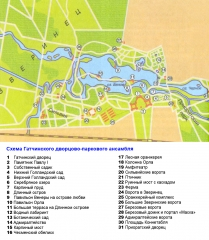 Схема Гатчинского дворцово-паркового ансамбля