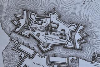 Петропавловская крепость в 1750 г. Старинная гравюра