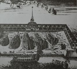 Адмиралтейство. Гравюра А.И. Ростовцева, 1717 г.