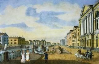 Вид старого Аничкова моста и дома Нарышкина на Фонтанке