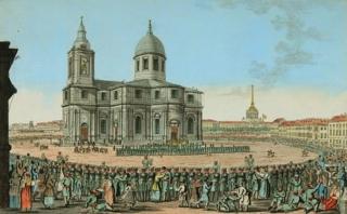 Исаакиевский собор в 1814 г. С картины художника И.А. Иванова