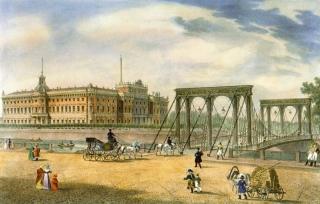 Вид на Пантелеймоновский цепной мост у Летнего сада, 1825 г.