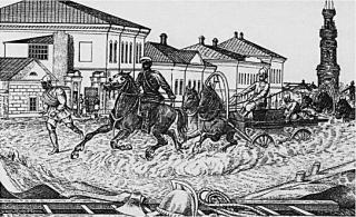 Старо-Московская улица на рисунке Л.Г. Соловьёва. 1882 г.