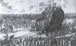 Транспортировка гром-камня. Гравюра XVIII в.